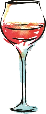 Watercolor Red Wine Glass 1043-02