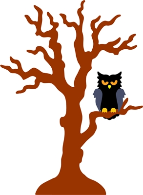 5334-07D Owl and Halloween Tree Die