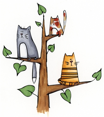 3 Cats in Tree 892-15